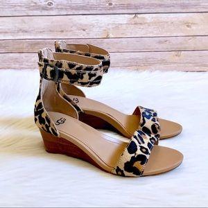 UGG Calf Hair Char Leopard Ankle Strap Sandals